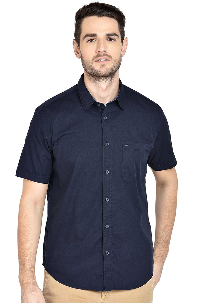 BASICS SLIM FIT IRIS NAVY STRETCH SHIRT-18BSH38757
