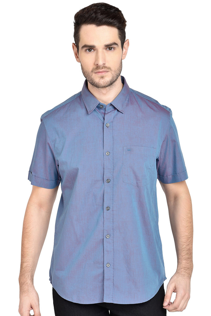 BASICS SLIM FIT JUPITER AQUA CHAMBRAY SHIRT-18BSH39007