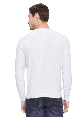 BASICS MUSCLE FIT SNOW HEATHER CREW NECK SWEATER-18BSW39788 (4491257184337)