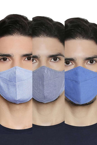BASICS UNISEX REUSABLE  MULTI STRUCTURE MASK PACK OF THREE-20BFM45331 (4674314993745)