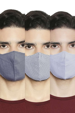 BASICS UNISEX REUSABLE  MULTI FABRIC MASK PACK OF THREE-20BFM45332 (4674315026513)