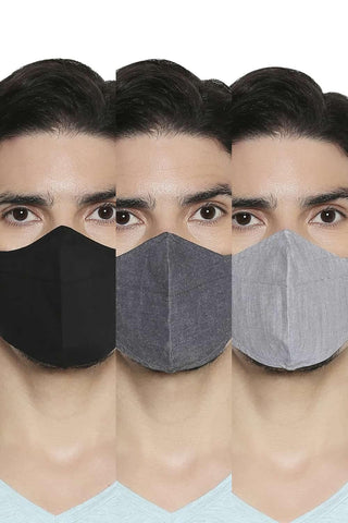 BASICS UNISEX REUSABLE  STRUCTURE MASK PACK OF THREE-20BFM45333 (4674315059281)