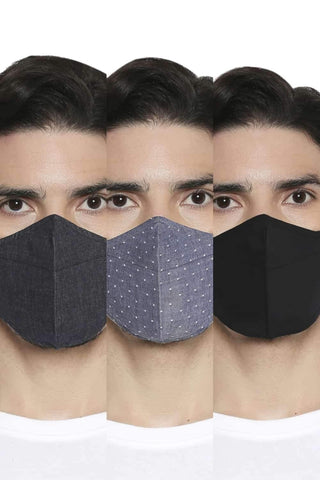 BASICS UNISEX REUSABLE  SOFT FILA FIL MASK PACK OF THREE-20BFM45335 (4674315157585)