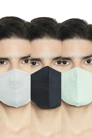 BASICS UNISEX REUSABLE  MULTI WEAVE MASK PACK OF THREE-20BFM45338 (4674315354193)