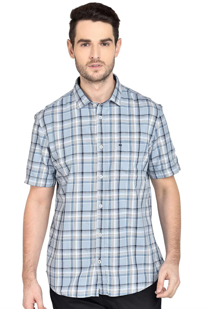 BASICS SLIM FIT SKYWAY BLUE CHECKS SHIRT-20BSH43167