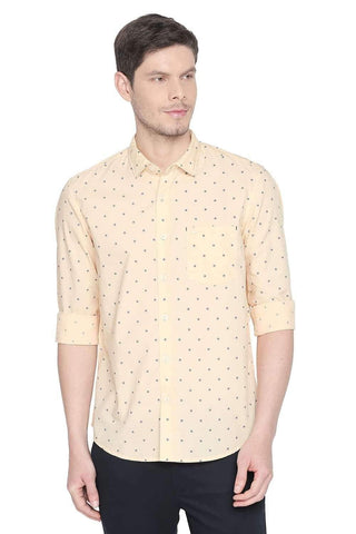 BASICS SLIM FIT IMPALA ORANGE PRINTED SHIRT-20BSH45956