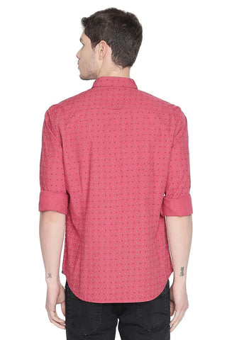 BASICS SLIM FIT GARNET ROSE PRINTED SHIRT-20BSH45960
