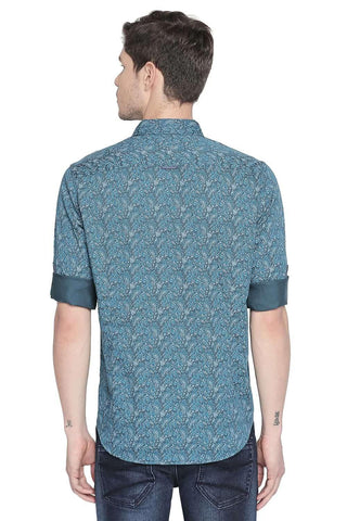 BASICS SLIM FIT ALGIERS TURQUOISE PRINTED SATIN SHIRT-20BSH45965