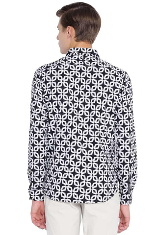 BASICS SLIM FIT MOONLESS NIGHT PRINTED SHIRT-20BSH45966