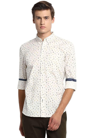 BASICS SLIM FIT ANGORA ECRU PRINTED SHIRT-20BSH45967