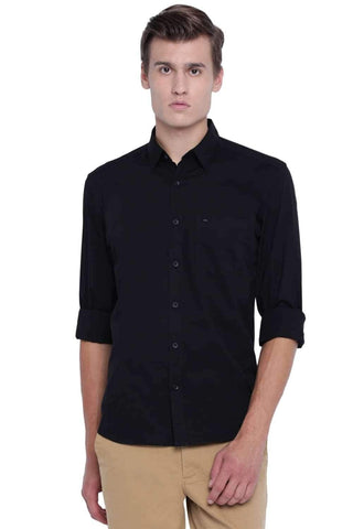 BASICS SLIM FIT METEORITE BLACK STRETCH SHIRT-20BSH45969