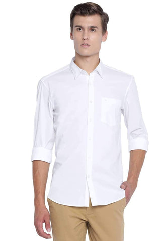 BASICS SLIM FIT CLOUD WHITE STRETCH SHIRT-20BSH45970