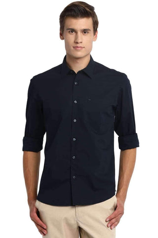 BASICS SLIM FIT ECLIPSE NAVY STRETCH SHIRT-20BSH45971