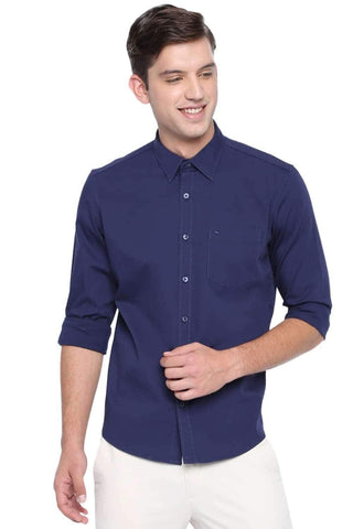 BASICS SLIM FIT MEDIEVAL NAVY STRETCH SHIRT-20BSH45972
