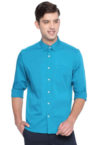 BASICS SLIM FIT ENAMEL TURQUOISE STRETCH SHIRT-20BSH45973