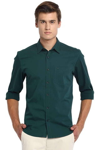 BASICS SLIM FIT STORM GREEN STRETCH SHIRT-20BSH45974