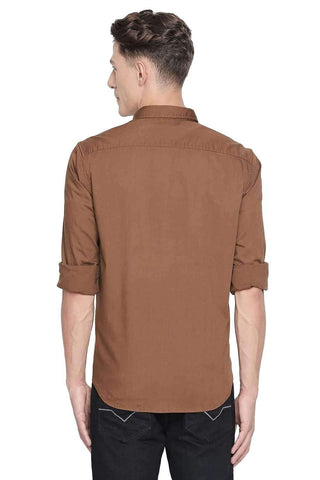 BASICS SLIM FIT DACHSHUND BROWN STRETCH SHIRT-20BSH45975