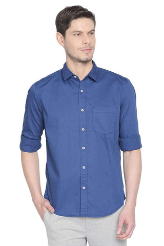 BASICS SLIM FIT MYKONOS BLUE TWILL STRETCH SHIRT-20BSH45976