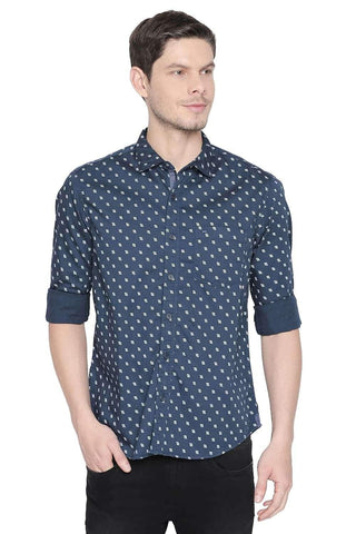 BASICS SLIM FIT MEDITERRANEAN BLUE PRINTED SHIRT-20BSH45977