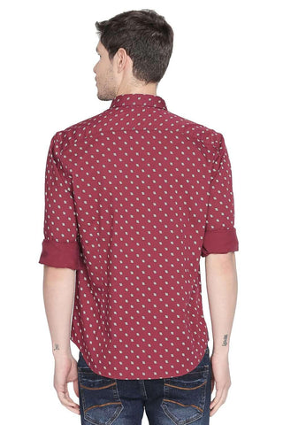 BASICS SLIM FIT RUMBA RED PRINTED SHIRT-20BSH45978