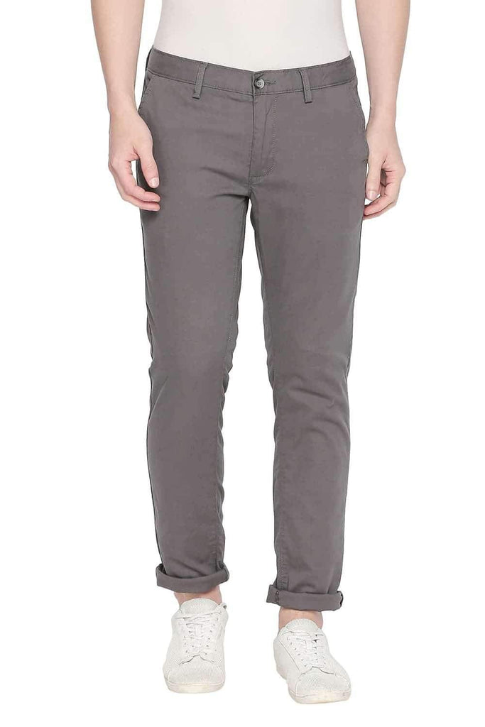 BASICS TAPERED FIT GUNMETAL STRETCH TROUSER-20BTR45429