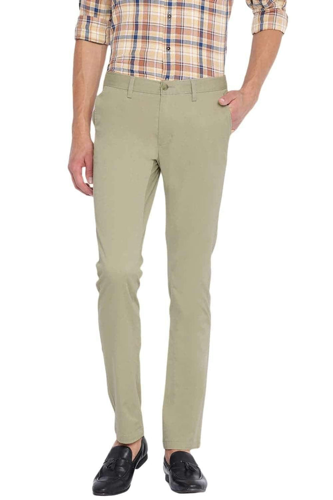 BASICS TAPERED FIT PALE KHAKI STRETCH TROUSER-20BTR45981