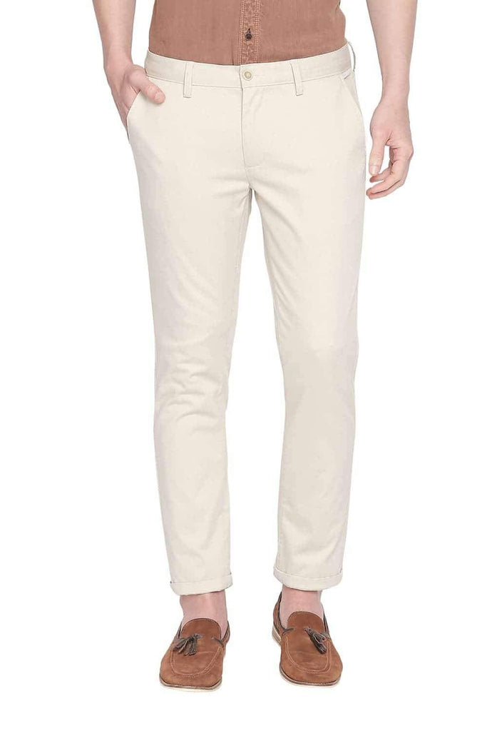 BASICS TAPERED FIT OYSTER GREY STRETCH TROUSER-20BTR46012