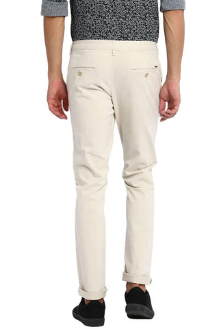 BASICS TAPERED FIT SEA PEARL STRETCH TROUSER-20BTR46027