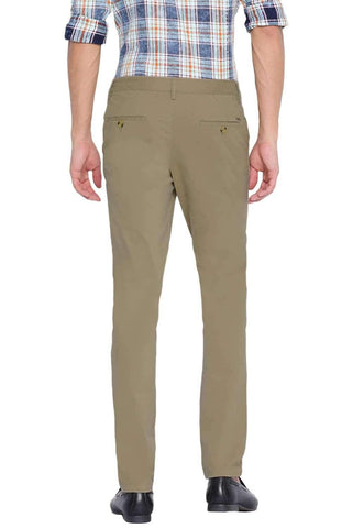 BASICS TAPERED FIT KELP KHAKI STRETCH TROUSER-20BTR46028