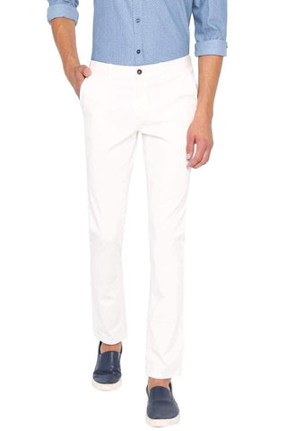 BASICS TAPERED FIT BRIGHT WHITE STRETCH TROUSER-20BTR46031