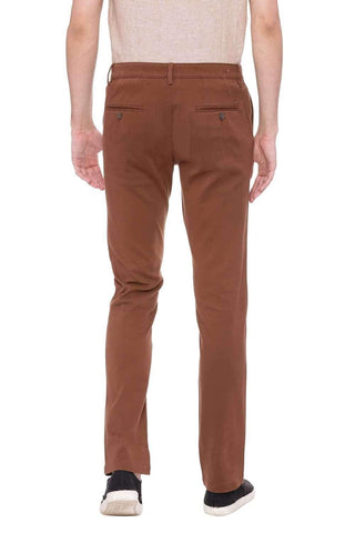 BASICS TAPERED FIT BISON BROWN STRETCH TROUSER-20BTR46035