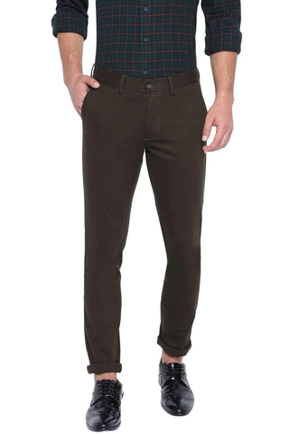 BASICS TAPERED FIT FOSSIL NIGHT STRETCH TROUSER-20BTR46052