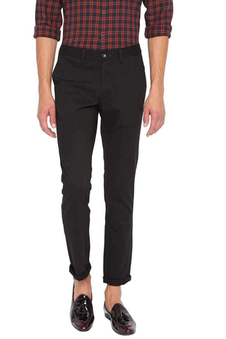 BASICS TAPERED FIT PIRATE BLACK STRETCH TROUSER-20BTR46053