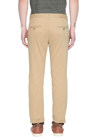 BASICS TAPERED FIT CURRY KHAKI STRETCH TROUSER-20BTR46062