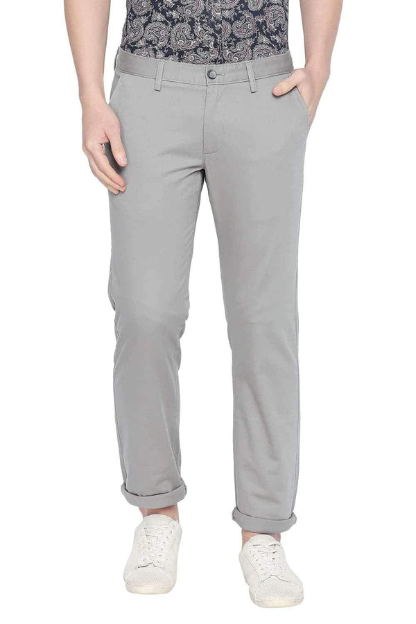 BASICS TAPERED FIT MOON MIST STRETCH TROUSER-20BTR46071