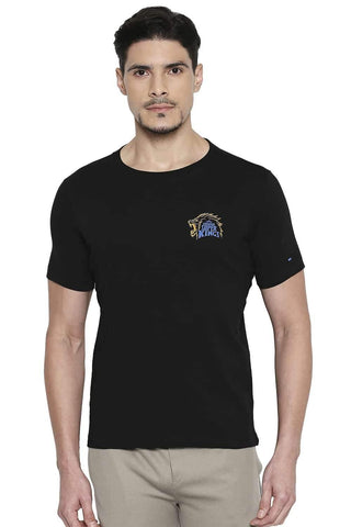 CSK ORIGINAL IPL ROARING LION PRINT BLACK CREW NECK T SHIRT (4674315812945)