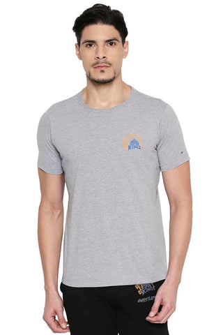 CSK ORIGINAL IPL ROARING LION PRINT GREY CREW NECK T SHIRT (4674315878481)