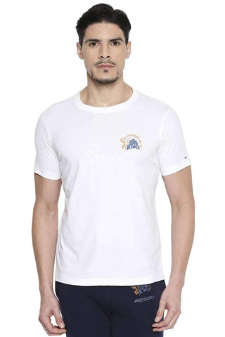 CSK ORIGINAL IPL ROARING LION PRINT WHITE CREW NECK T SHIRT (4674316009553)