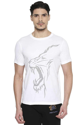 CSK ORIGINAL IPL ROARING LION PRINT WHITE CREW NECK T SHIRT (4674316206161)