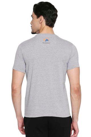 CSK ORIGINAL IPL WHISTLE PODU GREY CREW NECK T SHIRT (4674316664913)