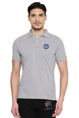CSK ORIGINAL IPL ROARING LION GREY POLO T SHIRT (4674317189201)