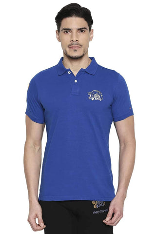 CSK ORIGINAL IPL ROARING LION PRINT BLUE POLO T SHIRT (4674317484113)