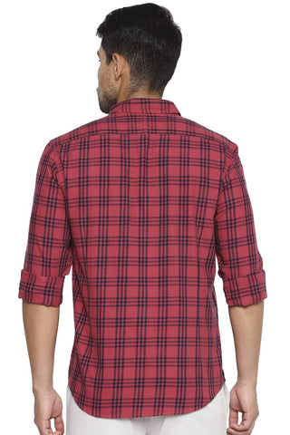 BASICS SLIM FIT CRANBERRY RED CHECKS SHIRT-21BSH44582