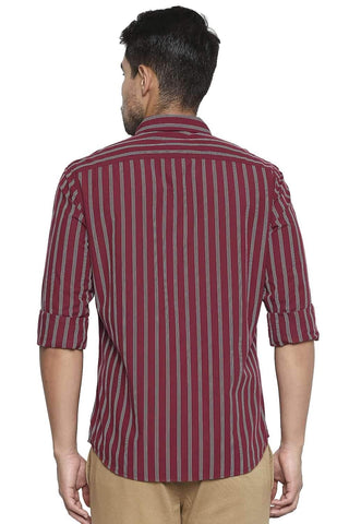 BASICS SLIM FIT BRICK RED STRIPE SHIRT-21BSH44641