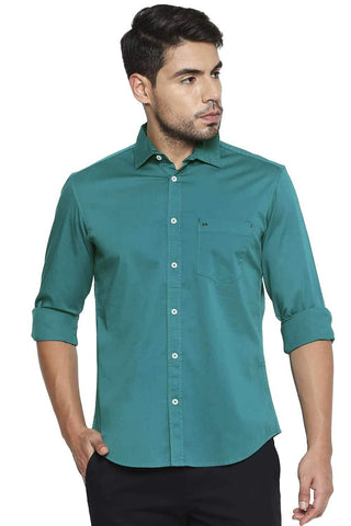 BASICS SLIM FIT NAVIGATE GREEN STRETCH SHIRT-21BSH44661