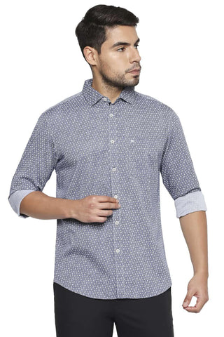BASICS SLIM FIT ALEUTIAN BLUE PRINTED SHIRT-21BSH44682