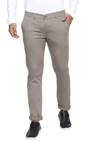 BASICS TAPERED FIT MOON GREY STRETCH TROUSER-21BTR44264