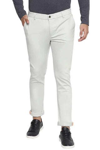 BASICS TAPERED FIT SKY GREY STRETCH TROUSER-21BTR44278
