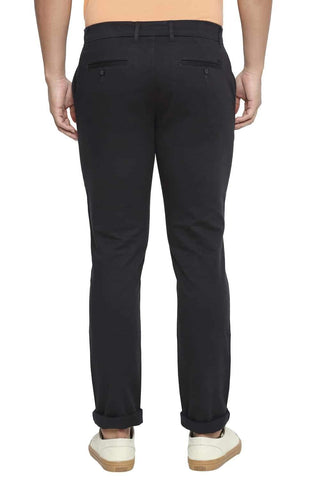BASICS TAPERED FIT DARK PHANTOM GREY STRETCH TROUSER-21BTR44285