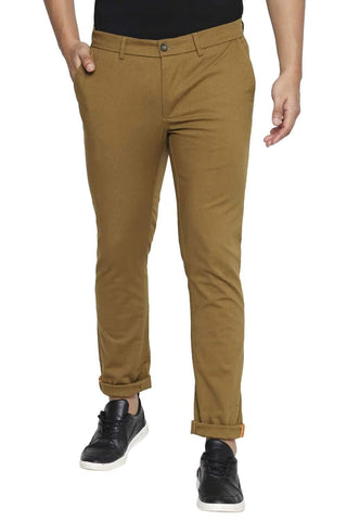 BASICS TAPERED FIT BISTRE KHAKI STRETCH TROUSER-21BTR44356